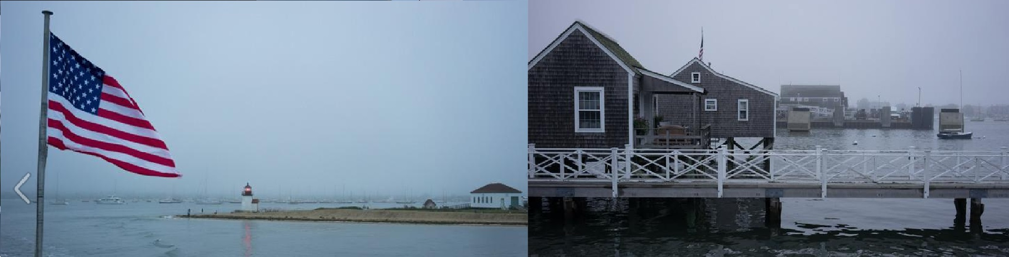 American flag in foreground with lighthouse, beach and Nantucket shoreline in background, dock in Nantucket on foggy day