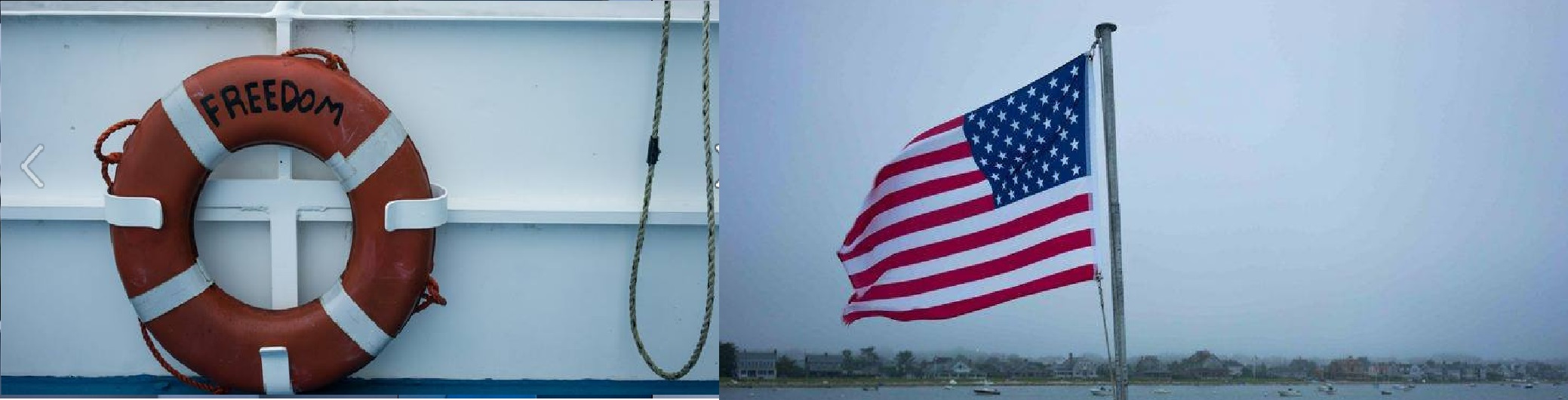 Life ring on Freedom Ferry, American flag with Harwichport shoreline in background